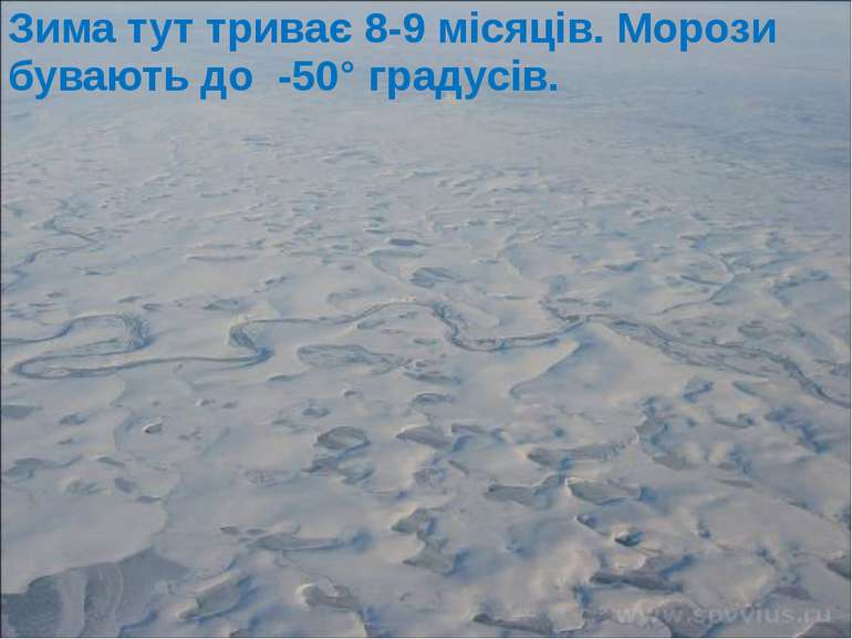 Зима тут триває 8-9 місяців. Морози бувають до -50° градусів.