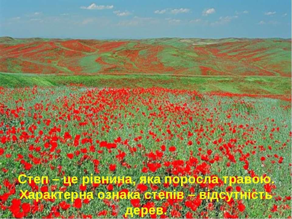 Степ – це рівнина, яка поросла травою. Характерна ознака степів – відсутність...