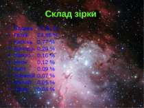 Склад зірки Водень 73,46 % Гелій 24,85 % Кисень 0,77 % Вуглець 0,29 % Залізо ...