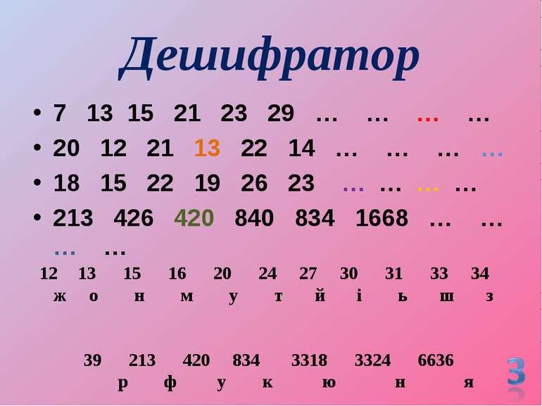 Дешифратор 7 13 15 21 23 29 … … … … 20 12 21 13 22 14 … … … … 18 15 22 19 26 ...