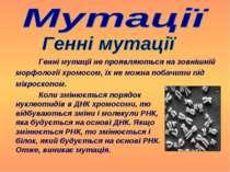 Генні мутації не проявляються на зовнішній морфології хромосом, їх не можна п...