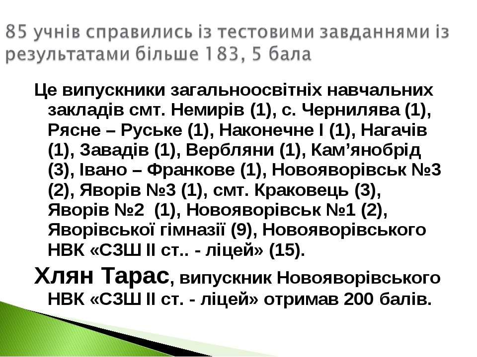 Це випускники загальноосвітніх навчальних закладів смт. Немирів (1), с. Черни...