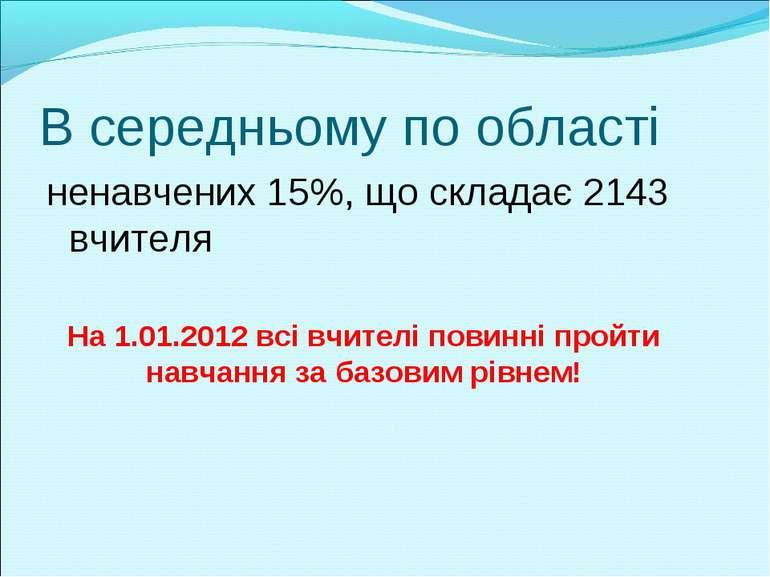 В середньому по області ненавчених 15%, що складає 2143 вчителя На 1.01.2012 ...