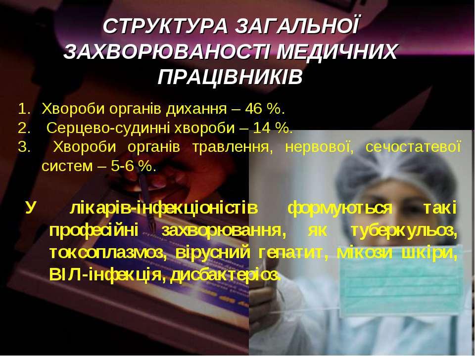 Хвороби органів дихання – 46 %. Серцево-судинні хвороби – 14 %. Хвороби орган...
