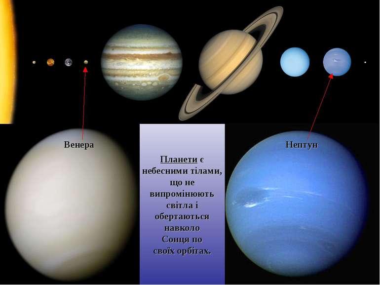 Венера Нептун Планети є небесними тілами, що не випромінюють світла і обертаю...