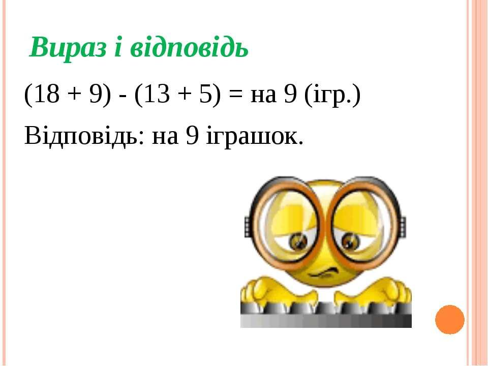 Вираз і відповідь (18 + 9) - (13 + 5) = на 9 (ігр.) Відповідь: на 9 іграшок.
