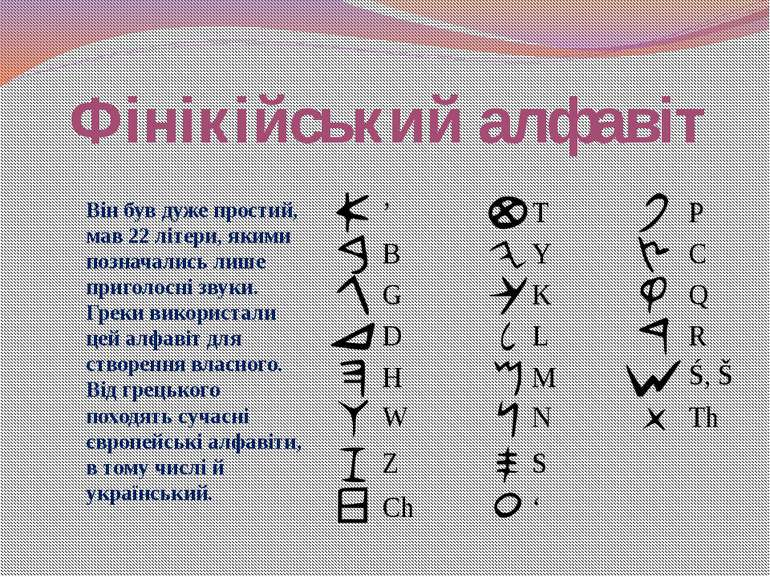 Фінікійський алфавіт Він був дуже простий, мав 22 літери, якими позначались л...