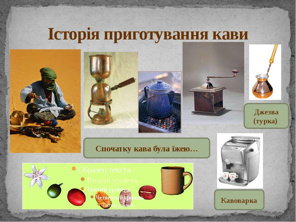 Історія приготування кави Кавоварка Джезва (турка) Спочатку кава була їжею…