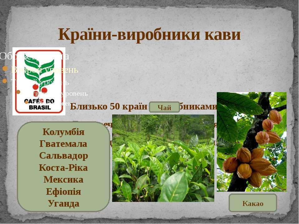 Країни-виробники кави Близько 50 країн є виробниками кави. Безперечним лідеро...