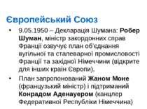 Європейський Союз 9.05.1950 – Декларація Шумана: Робер Шуман, міністр закордо...