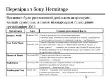 Перевірка з боку Hermitage Висновки були розголошені декільком акціонерам, чл...