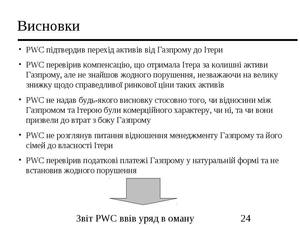 Висновки PWC підтвердив перехід активів від Газпрому до Ітери PWC перевірив к...
