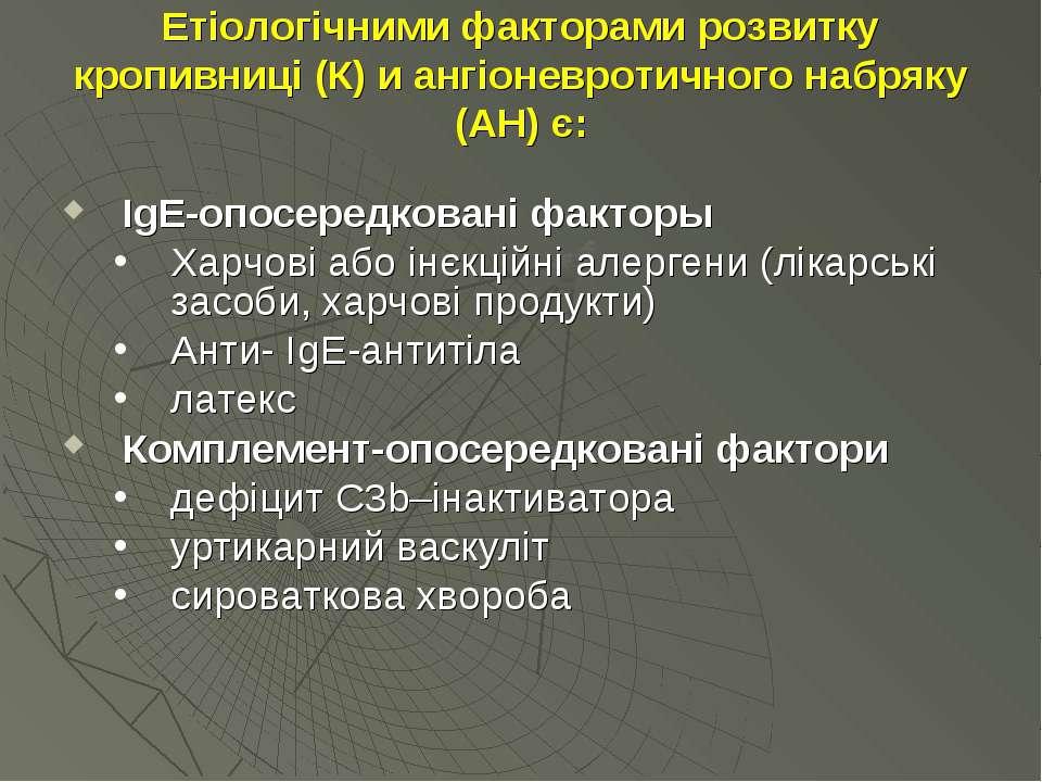 Етіологічними факторами розвитку кропивниці (К) и ангіоневротичного набряку (...