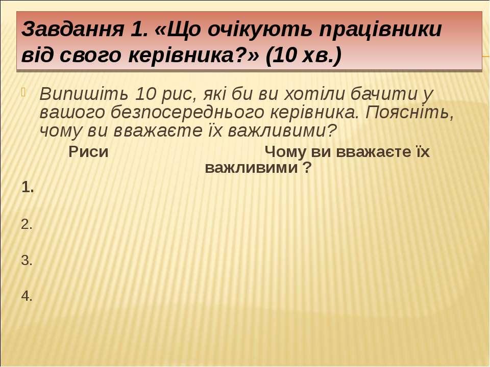 Завдання 1. «Що очікують працівники від свого керівника?» (10 хв.) Випишіть 1...