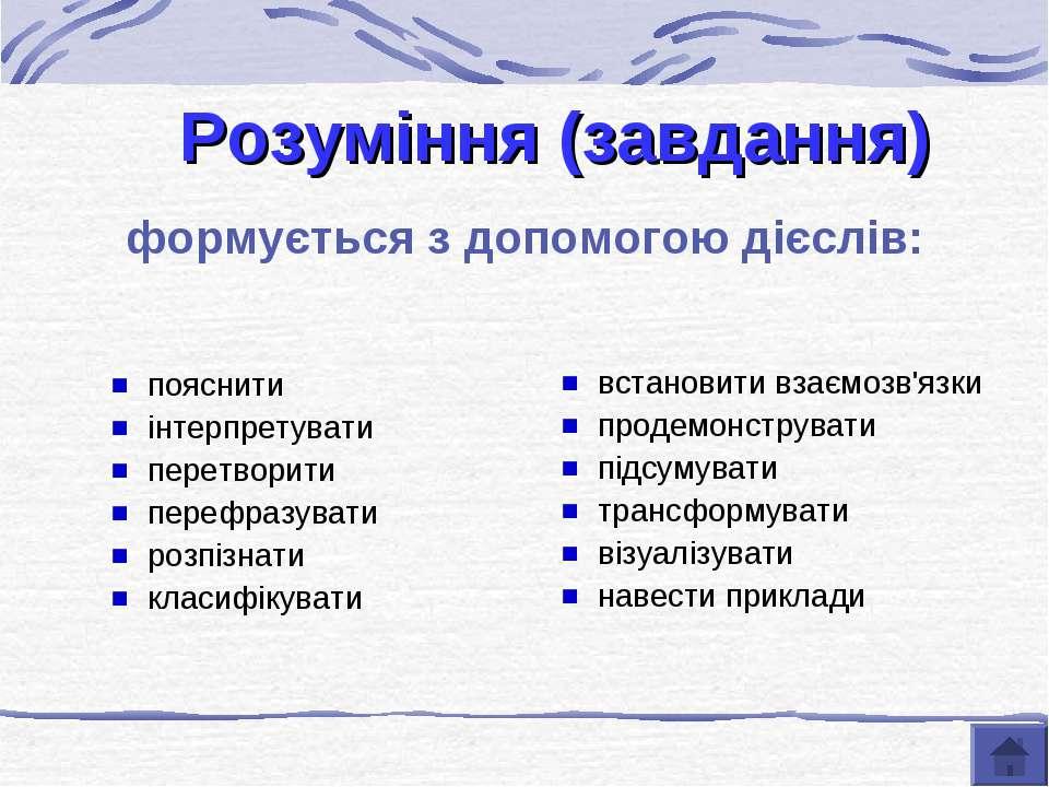 Розуміння (завдання) формується з допомогою дієслів: