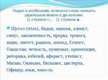Подані в російському написанні слова запишіть українською мовою в дві колонки...