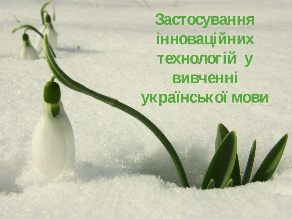 Застосування інноваційних технологій у вивченні української мови