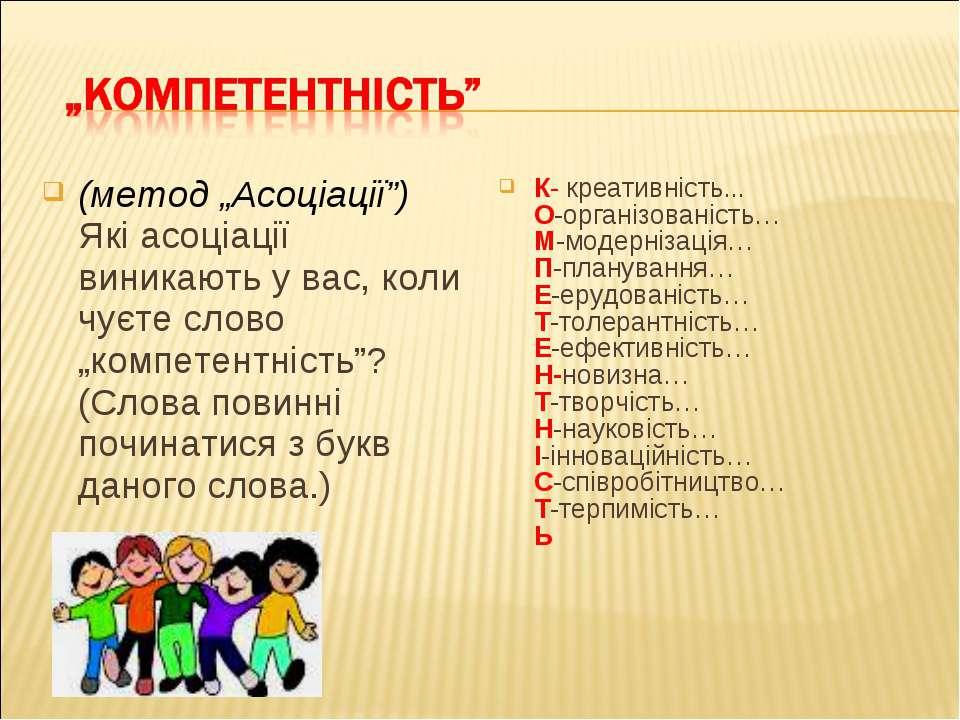 """(метод """"Асоціації"""") Які асоціації виникають у вас, коли чуєте слово """"компетен..."""