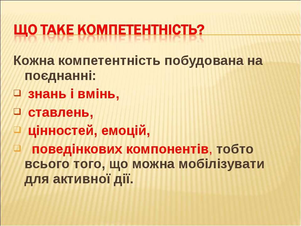 Кожна компетентність побудована на поєднанні: знань і вмінь, ставлень, ціннос...