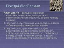 Похідні білої глини Атапульгіт – володіє захисними властивостями за рахунок з...
