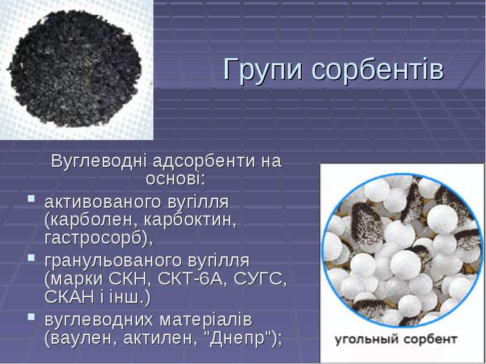 Групи сорбентів Вуглеводні адсорбенти на основі: активованого вугілля (карбол...