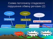 Схема патогенезу спадкового порушення обміну речовин (2) Ген А Ген В Ген С Фе...