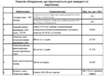 Перелік обладнання, що пропонується для передачі с/г виробнику
