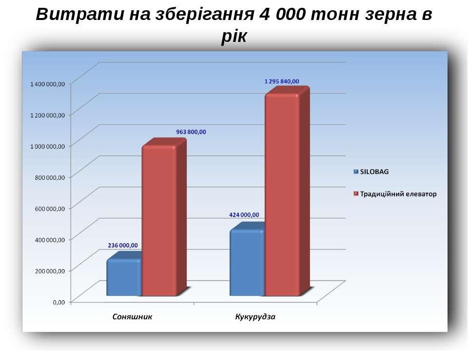 Витрати на зберігання 4 000 тонн зерна в рік
