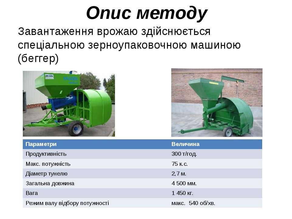 Опис методу Завантаження врожаю здійснюється спеціальною зерноупаковочною маш...