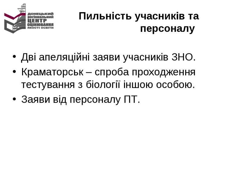 Пильність учасників та персоналу Дві апеляційні заяви учасників ЗНО. Краматор...