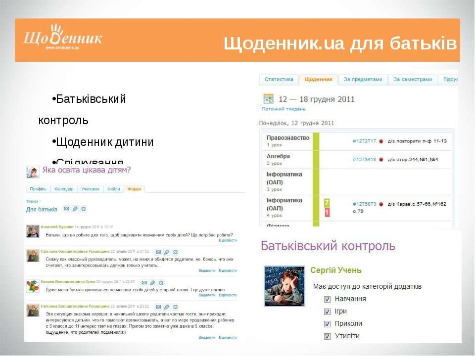 Щоденник.ua для батьків Батьківський контроль Щоденник дитини Спілкування
