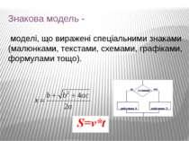 Знакова модель - моделі, що виражені спеціальними знаками (малюнками, текстам...