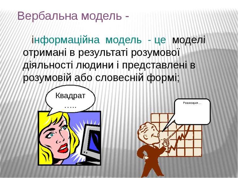 Вербальна модель - інформаційна модель - це моделі отримані в результаті розу...