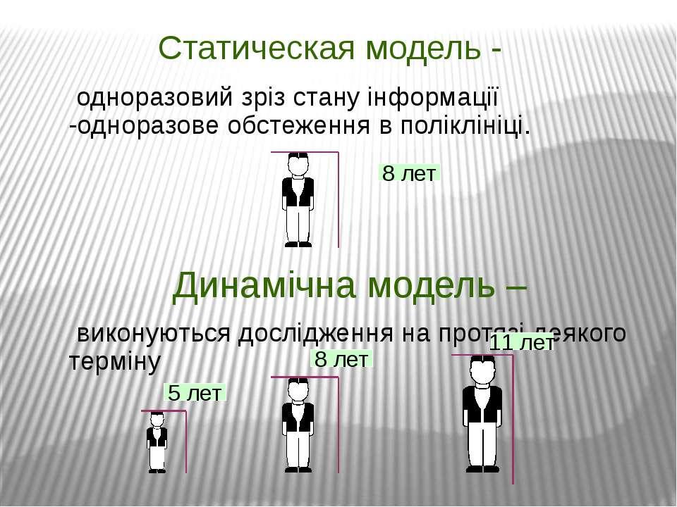 Статическая модель - одноразовий зріз стану інформації -одноразове обстеження...