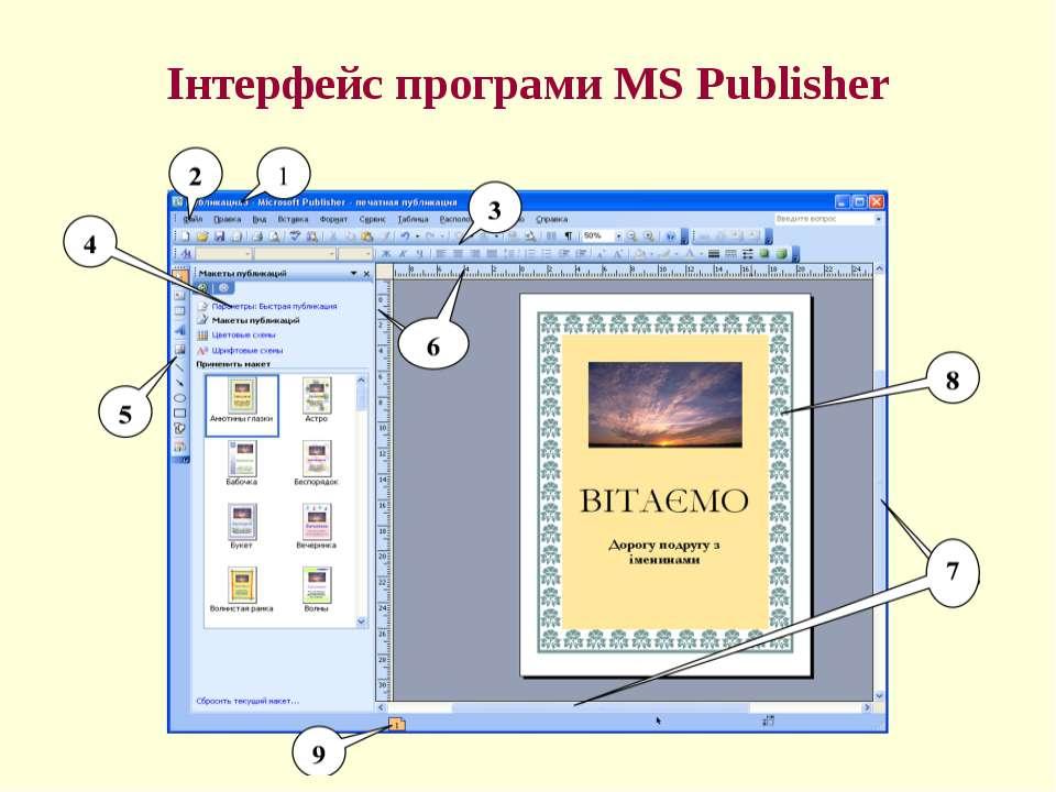 Інтерфейс програми MS Publisher