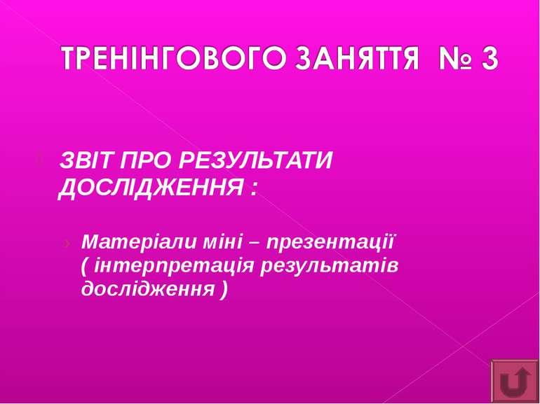 ЗВІТ ПРО РЕЗУЛЬТАТИ ДОСЛІДЖЕННЯ : Матеріали міні – презентації ( інтерпретаці...