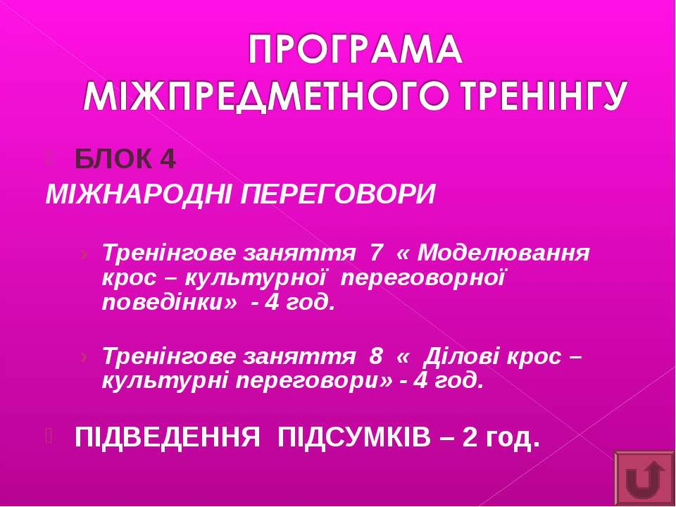 БЛОК 4 МІЖНАРОДНІ ПЕРЕГОВОРИ Тренінгове заняття 7 « Моделювання крос – культу...