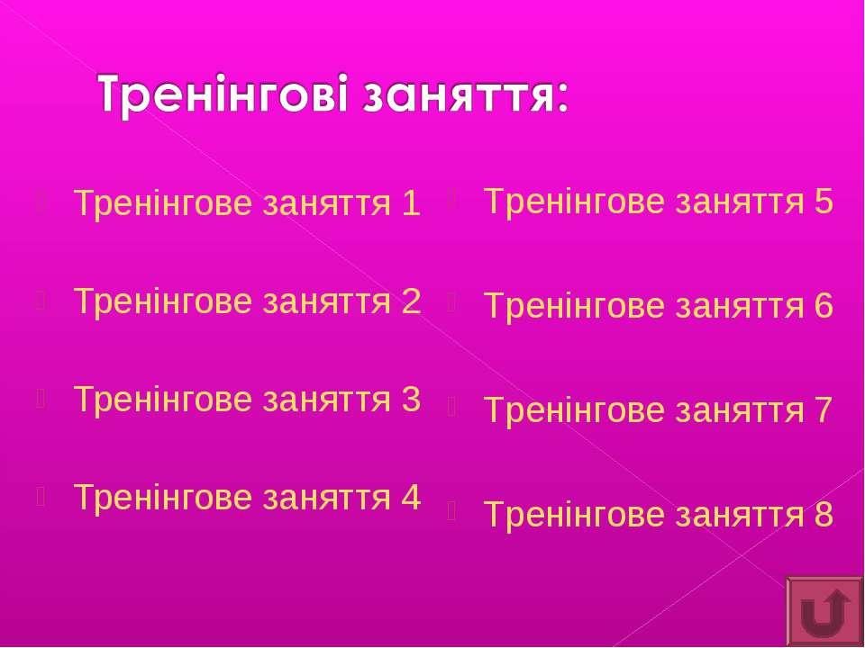 Тренінгове заняття 1 Тренінгове заняття 2 Тренінгове заняття 3 Тренінгове зан...