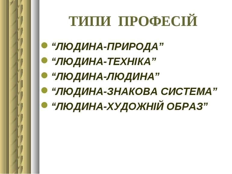 """ТИПИ ПРОФЕСІЙ """"ЛЮДИНА-ПРИРОДА"""" """"ЛЮДИНА-ТЕХНІКА"""" """"ЛЮДИНА-ЛЮДИНА"""" """"ЛЮДИНА-ЗНАКО..."""