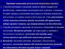 Причини заниження результатів кількісного аналізу: Токсичні речовини в органі...