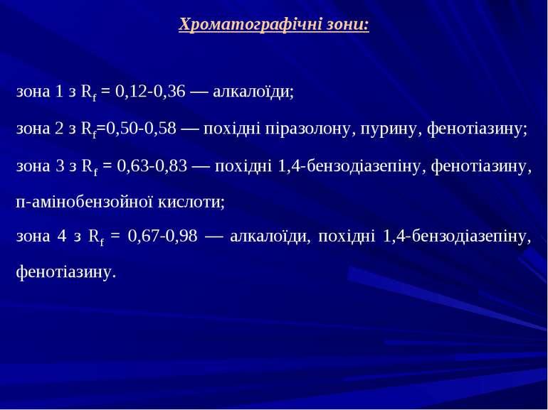 Хроматографічні зони: зона 1 з Rf = 0,12-0,36 — алкалоїди; зона 2 з Rf=0,50-0...