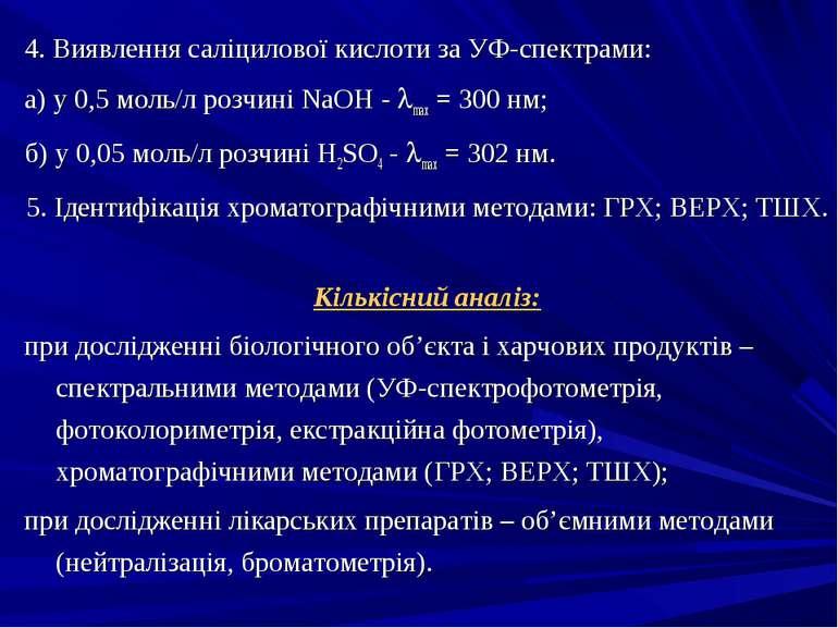 4. Виявлення саліцилової кислоти за УФ-спектрами: а) у 0,5 моль/л розчині NaO...