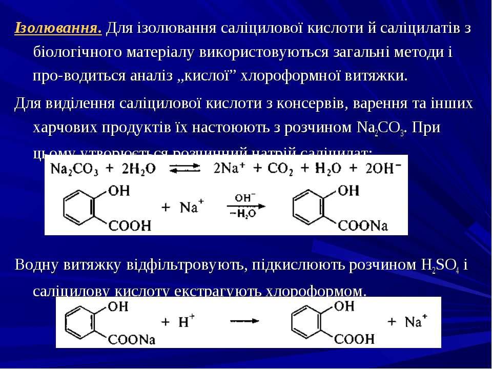 Ізолювання. Для ізолювання саліцилової кислоти й саліцилатів з біологічного м...