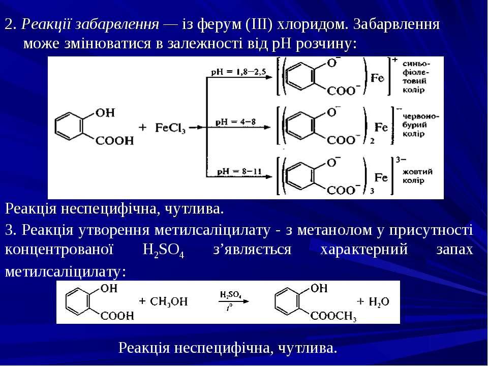 2. Реакції забарвлення — із ферум (III) хлоридом. Забарвлення може змінюватис...