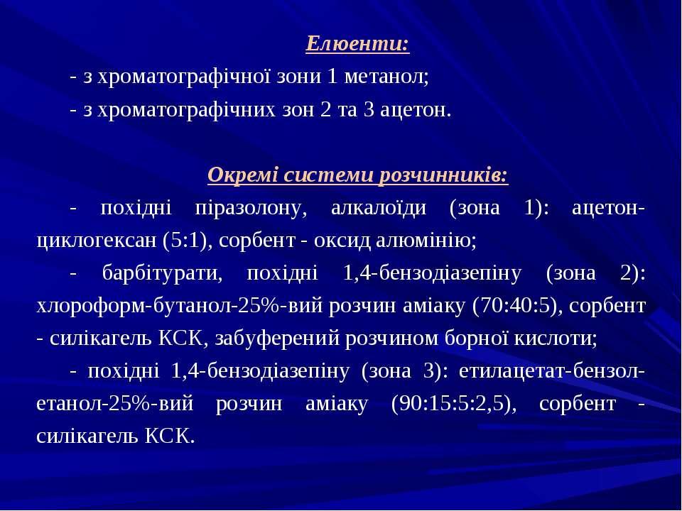 Елюенти: - з хроматографічної зони 1 метанол; - з хроматографічних зон 2 та 3...