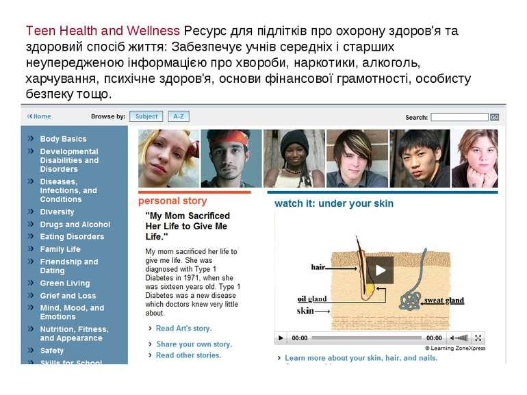 Teen Health and Wellness Ресурс для підлітків про охорону здоров'я та здорови...