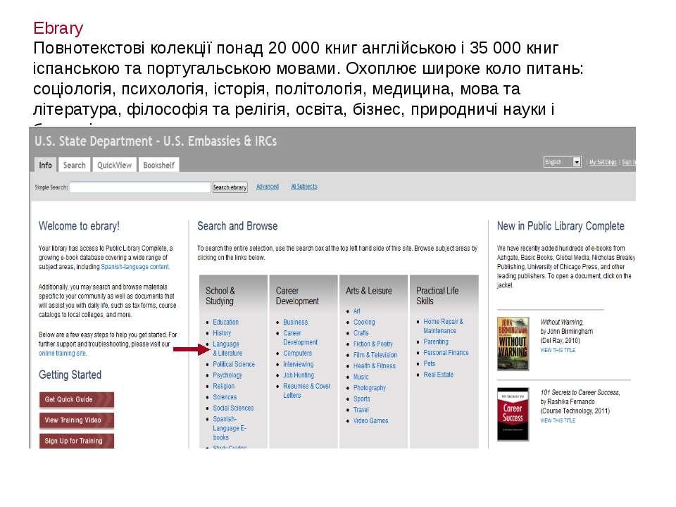 Ebrary Повнотекстові колекції понад 20 000 книг англійською і 35 000 книг ісп...