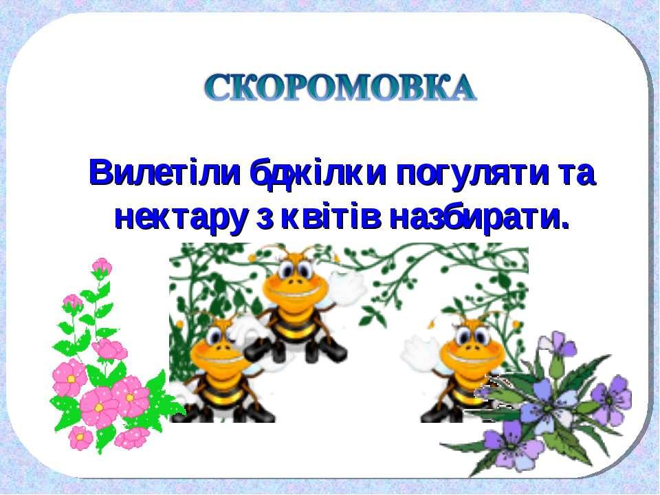 Вилетіли бджілки погуляти та нектару з квітів назбирати.