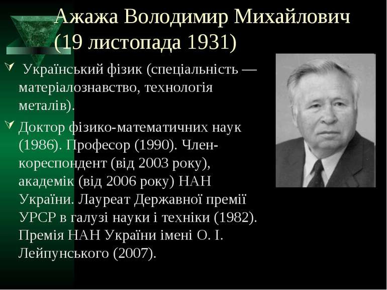 Ажажа Володимир Михайлович (19 листопада 1931) Український фізик (спеціальніс...