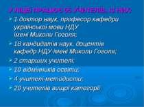 У ЛІЦЕЇ ПРАЦЮЄ 55 УЧИТЕЛІВ, ІЗ НИХ: 1 доктор наук, професор кафедри українськ...